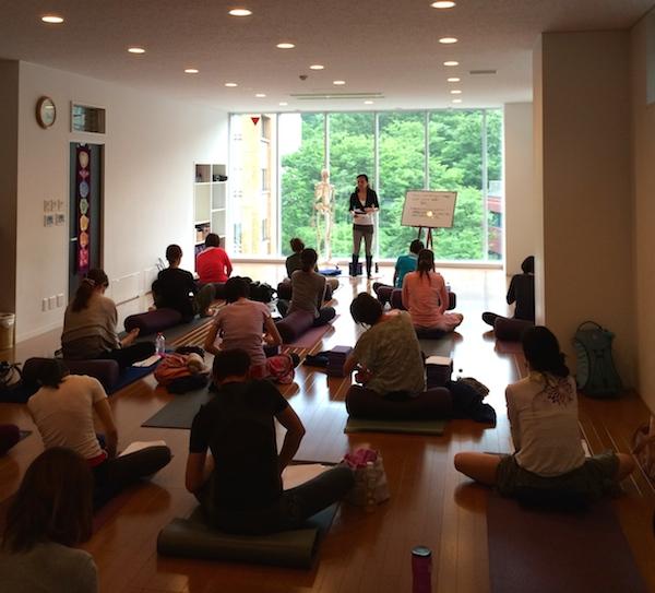 Kumiko Mack teaching ISHTA Marma self massage at Be Yoga Japan, Hiroo, Tokyo