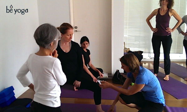 Meg McCreery teaching correct alignments for Warrior II pose (Virabhadrasana II) at Be Yoga Japan, Hiroo, Tokyo